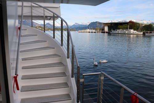 Die Treppe zum Oberdeck. (Bild: Stefanie Nopper / Luzernerzeitung.ch)