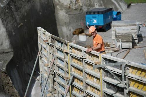 23.07.2014: Verschalungen beim Bau der Talstation in Engelberg. (Bild: Corinne Glanzmann / Neue OZ)