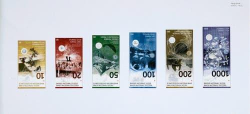 Im Entwurf bestehen auch die zukünftigen Noten der neuen Serie. (Bild: Schweizerische Nationalbank)