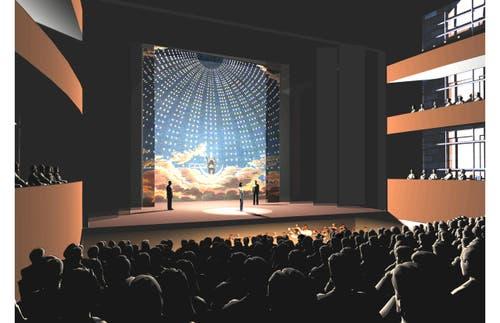 Mögliche Innenansicht der grossen Bühne im neuen Theater Luzern: Klassische Opernanordnung mit Orchestergraben. (Bild: Visualisierung PD)
