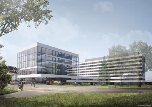 Das Besucher-Zentrum aus Richtung Werkgelände aus gesehen. (Bild: Burckhardt+Partner AG)