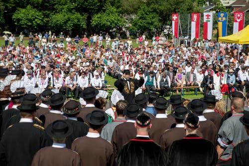 Festakt am Zentralschweizer Jodlerfest in Sarnen. (Bild: Philipp Schmidli)