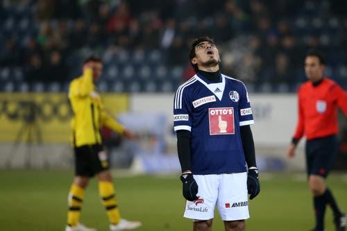 Frust bei Dario Lezcano nach einer verpassten Chance im Spiel vom 7. Februar 2015 gegen die Berner Young Boys, welches 1:1 endet. (Bild: Philipp Schmidli)