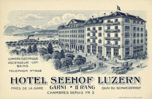 Schweizerhofquai mit Haldenstrasse und drei verschiedenen Hotels, 1914 (Bild: PD)