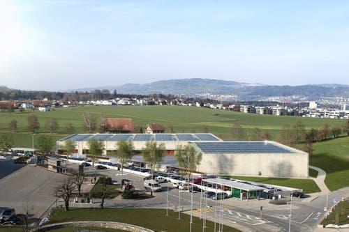Fotovoltaikanlage produziert Elektrizität für den täglichen Bedarf. (Bild: Visualisierung Campus Sursee)