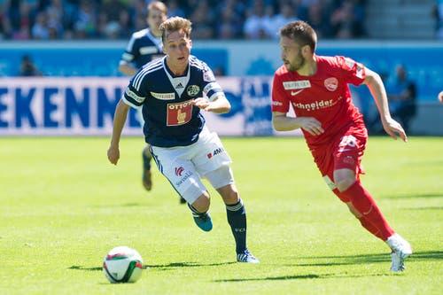 Luzerns Nicolas Haas (links) gegen Thuns Andreas Wittwer. (Bild: Keystone)