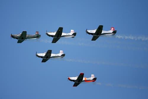 PC-12 im Formationsflug. (Bild: Philipp Schmidli)