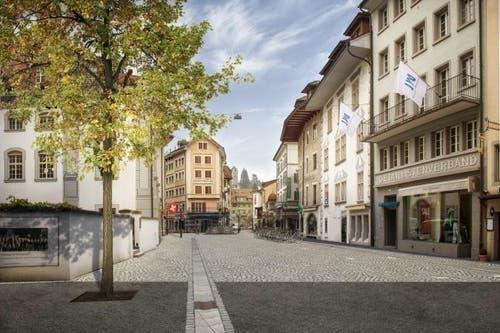In Zukunft: Südliche Burgerstrasse Blickrichtung Philipp-Anton-von-Segesser-Platz (Bild: Visualisierung PD)