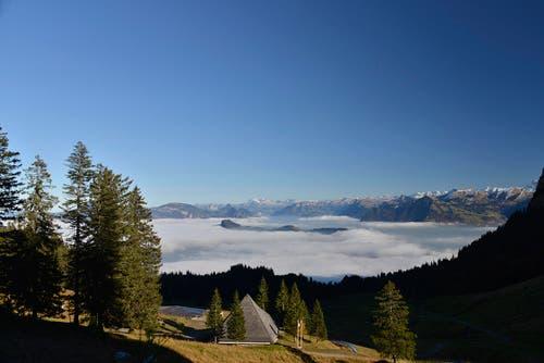Blick von der Fräckmünt über den Bürgenstock auf die Alpen. (Bild: Irene Baumeler - Villiger)