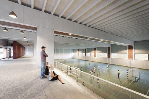 Dreifach-Sporthalle mit Tribüne. (Bild: Visualisierung Campus Sursee)