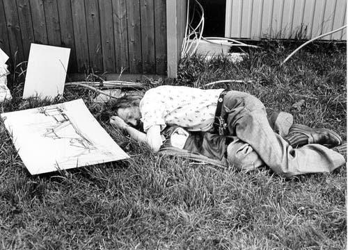 Schlafendes Original: Der Kernser Kunstmaler Beda Durrer. (Bild: Josef Reinhard/Neue OZ)