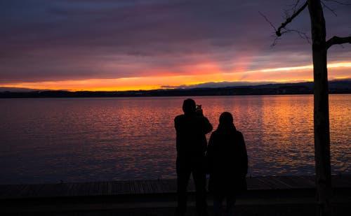 Sonnenuntergang am Zugersee. (Bild: Daniel Hegglin)