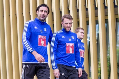 Tomislav Puljic, Christian Schneuwly, und Claudio Lustenberger (von links). (Bild: Keystone / Alexandra Wey)