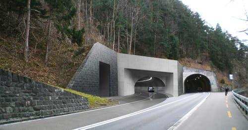 Das geplante neue Tunnelportal in Ort auf dem Gemeindegebiet von Morschach, rechts die alte Axenstrasse. (Bild: PD)