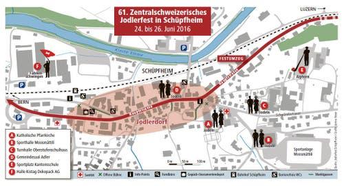 Übersichtsplan des 61. Zentralschweizerischen Jodlerfest in Schüpfheim. (Bild: Grafik Neue LZ)