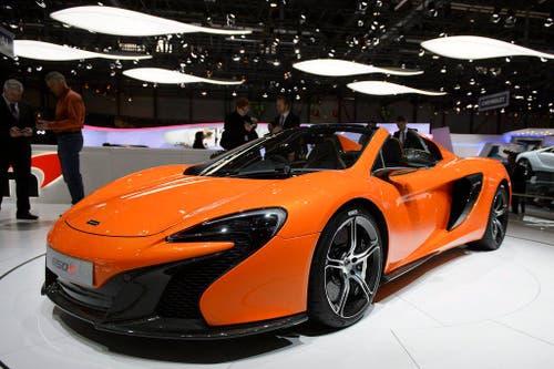 Der viertstärkste Wagen in Genf: der McLaren 650S kostet 237'000 Euro und hat 650 PS unter der Haube. (Bild: Keystone)