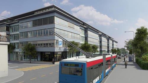 RBus beim Schappe Center in Kriens (Bild: Visualisierung Mathys Partner)