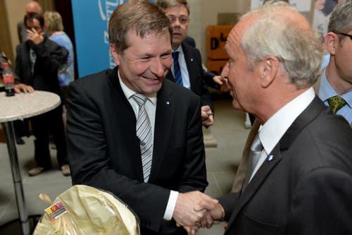 Beide wurden am Sonntag gewählt: Der bisherige Marcel Schwerzmann und der neugewählte Paul Winiker. (Bild: Nadia Schärli / Neue LZ)