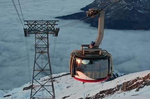 15. November: Jungfernfahrt der neuen, komplett drehbaren Gondel am Titlis. So sieht sie aus. (Bild: Titlis-Bahnen)