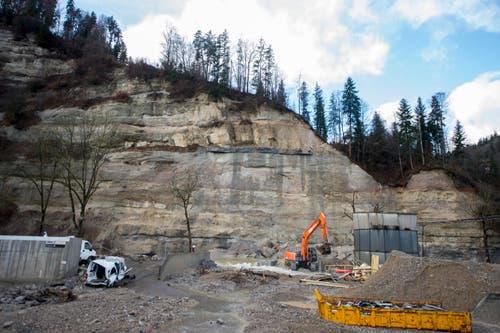 Ein Bagger entfernt Schlamm und Geröll, im Hintergrund die Felswand mit der Abbruchstelle. (Bild: Keystone / Urs Flüeler)