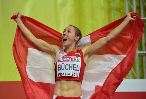 Selina Büchel (23) holt EM-Gold über 800 Meter (8. März). (Bild: Keystone / Martin Meissner)
