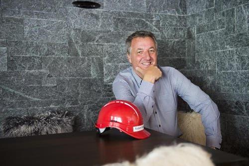Robert Fellermeier anlässlich des Baustarts des neuen Apartmentshauses Biber. (Bild: Keystone)