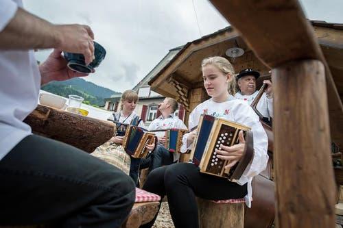 Der Wagen «Alphornbock» der Alphornbläser und Fahnenschwinger Küssnacht am Rigi. (Bild: Pius Amrein / Neue LZ)