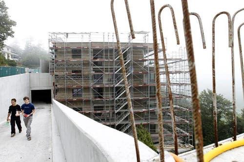 Baustelle des Panorama Residence Hotel am 6. September 2012. (Bild: Keystone)