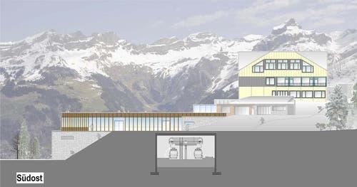 Gut sichtbar ist die neue Terrasse mit 1500 Quadratmetern über der Bahnstation. (Bild: Visualisierung PD)