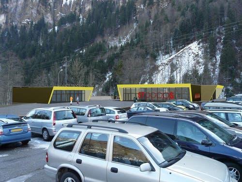 Visualisierung der Talstation der neuen Stoosbahn. (Bild: PD)