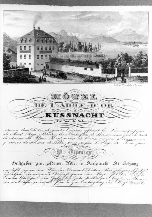 """Der """"Goldene Adler"""" in Küssnacht am Rigi war 1816 das erste Seehotel am Vierwaldstättersee - hier in einer Ansicht von 1840. (Bild: PD)"""