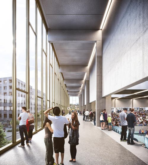 Das Obergeschoss der Pilatus-Arena mit dem Stadtbalkon. Blick aus dem Obergeschoss auf die geplante Allee zwischen Bahnhof und Mattenplatz. (Bild: Visualisierung Raumgleiter AG, Zürich)