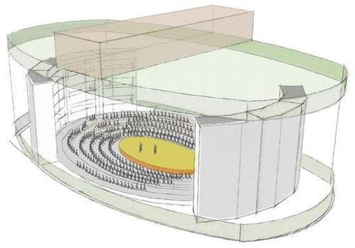 Arena mit zwei grossen beweglichen Elementen. (Bild: pd)