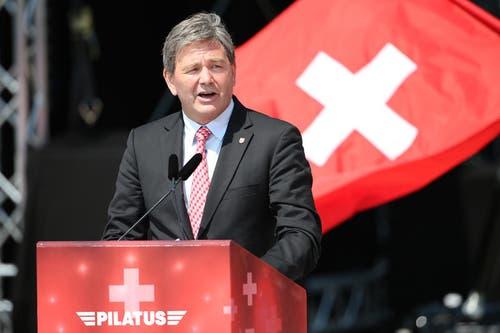 Regierungsrat Res Schmid unterstrich die Bedeutung von Pilatus für den Kanton Nidwalden. (Bild: Philipp Schmidli)