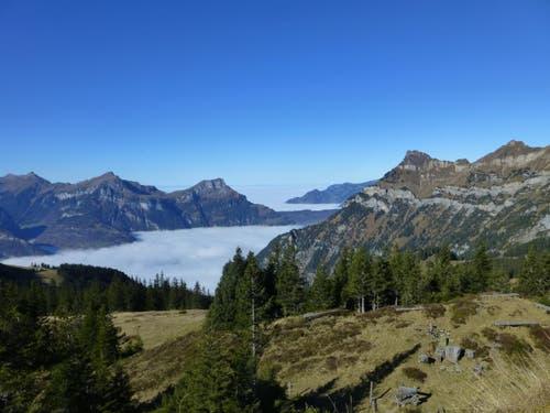 Blick von der Hüenderegg 1874 m auf den Rophaien und den herbstlich vernebelten Vierwaldstättersee (Bild: Corinne Kälin)