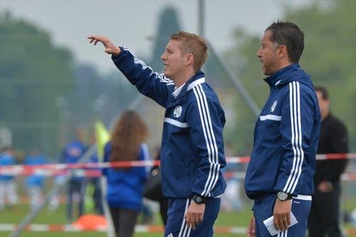 Trainer FC Luzern, Dominik Eberle (links) und Vincent Vercueil (rechts). (Bild: Martin Meienberger)