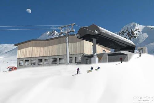 Bergstation der neuen 8er-Gondelbahn Andermatt-Gütsch. (Bild: Visualisierung PD)
