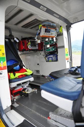 Einblick ins innere des Rettungsheli. (Bild: Corinne Glanzmann/Neue NZ)
