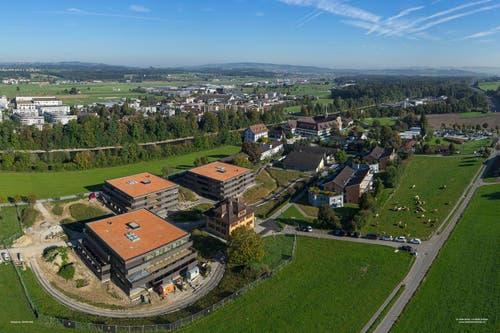 Luftaufnahme von Rathausen im September 2016. (Bild: PD / Josef Ehrler / panorama-factory.ch)