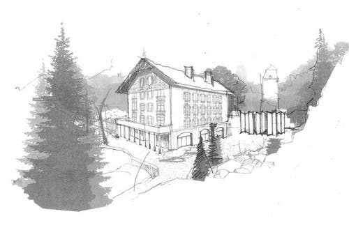Zukunftsperspektive: Schweizerhaus mit vergrössertem Park und Eingang Spiegellabyrinth (Bild: Gletschergarten)