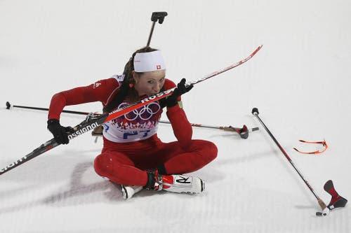 Selina Gasparin holt beim Biathlon Silber. (Bild: Keystone)