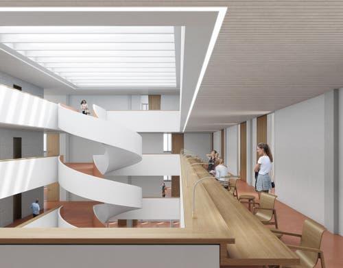 Sitzbänke in den Gängen ermöglichen das Arbeiten mit Laptops und Büchern. (Bild: Visualisierung Metron Architektur AG)