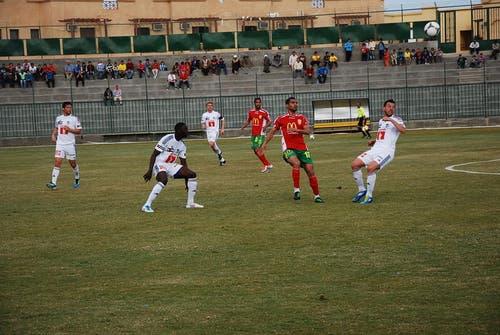 Die FCL-Abwehr (von links) hat gegen El Gouna zu tun: Michel Renggli, Sally Sarr, Florian Stahel und Xavier Hochstrasser. (Bild: Daniel Wyrsch / Neue LZ)
