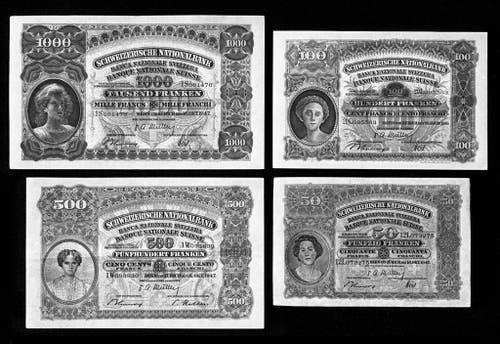 Die 50-, 100-, 500-, und 1000-Bank-Noten der Banknotenserie von 1911 zeigen jeweils Frauenproträts, … (Bild: Keystone Archiv)