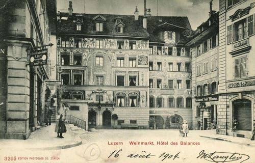 Hotel des Balances am Weinmarkt, 1898 (Bild: PD)
