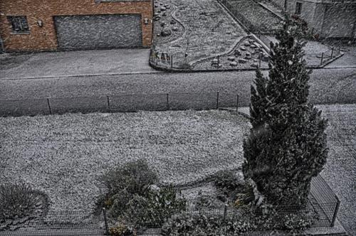 Schneefall, 7.30 Uhr 25.4.16 (Bild: Leserin Regula Aeppli)