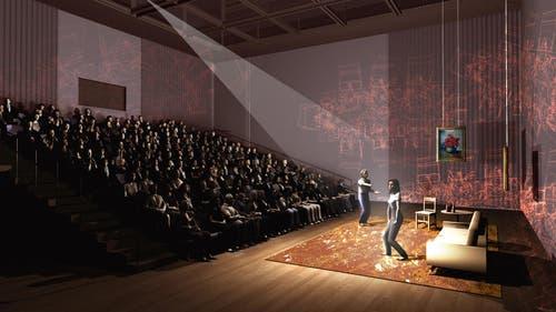 Mögliche Innenansicht der kleinen Bühne im neuen Theater Luzern. (Bild: Visualisierung PD)