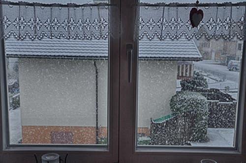 Schneefall Ende April in Beckenried. (Bild: Leserin Regula Aeppli)