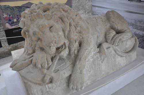 Kanton Zug: Löwenskulptur auf dem Museum Burg Zug (Bild: Archiv Burg Zug)