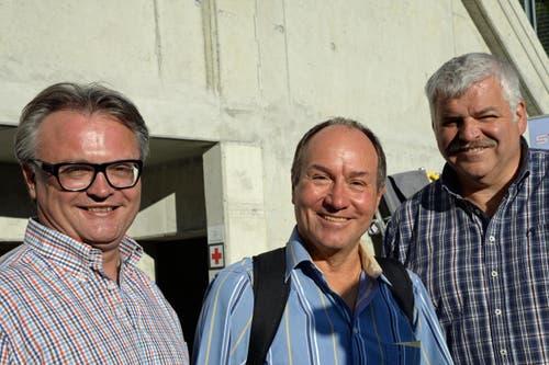 Stefan Roth, Stadtpräsident Luzern, Niklaus Bleiker, Landammann Obwalden und Othmar Reichmuth, Regierungsrat Schwyz (von links). (Bild: Robert Hess / Neue OZ)